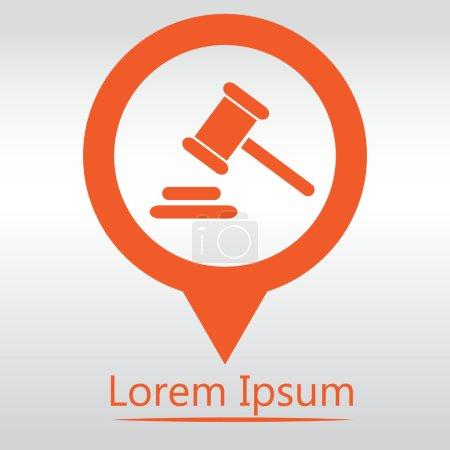 Illustration pour Icône de juge marteau. marteau juridique loi gavel. icône carte pin - image libre de droit
