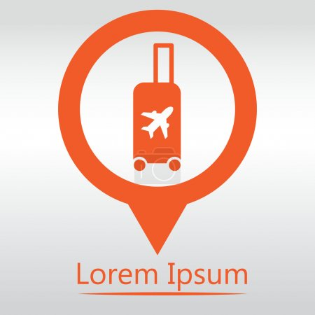 Illustration for Traveling bag - Vector illustration isolated, icon map pin - Royalty Free Image
