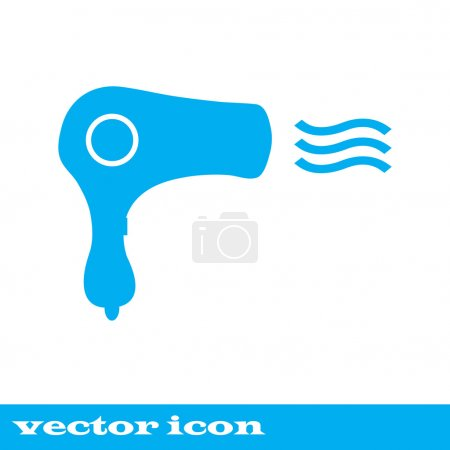 Vintage emblem medal. Hairdryer sign icon. Hair drying symbol. Blowing hot air. Turn on.  Classic flat icon. Vector