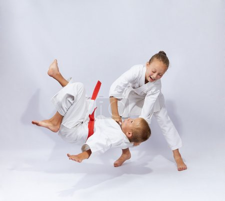 Judo throw in perfoming young athletes