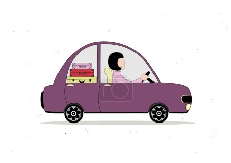 Illustration for Lilac simple cartoon car loaded with suitcases with woman driving - Royalty Free Image