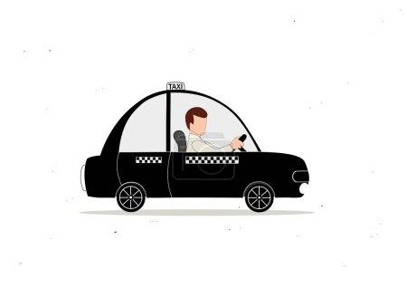 Illustration pour Taxi noir voiture et chauffeur de taxi - image libre de droit