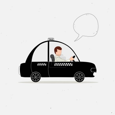 Illustration pour Voiture de taxi noir et chauffeur de taxi et bulle de la parole - image libre de droit