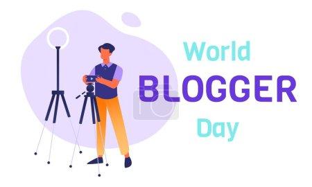 Photo pour Modèle de bannière horizontale Journée mondiale des blogueurs avec style de vie blogueur-homme prenant une couverture vidéo ou photo. Tendances modernes sur le marché du travail. Influenceurs et créateurs de contenu en tant que nouvelles professions. - image libre de droit