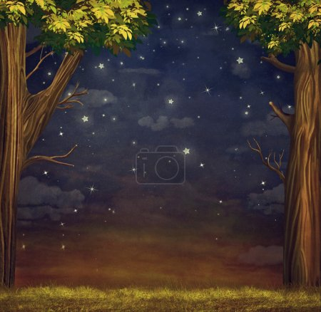 Photo for Illustration of  a forest  with  stars   at night sky - Royalty Free Image