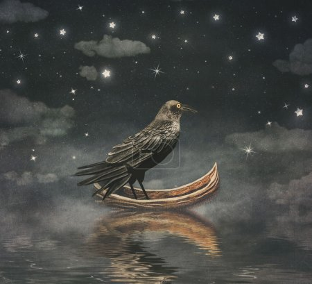 Black Raven in a boat at the river magical night , illustration art
