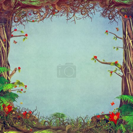 Beautiful woodland scene with blue background in centre
