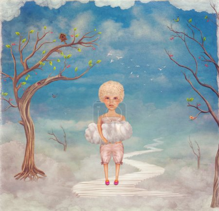 Child holds in his palms the cloud in   sky  ,illustration art