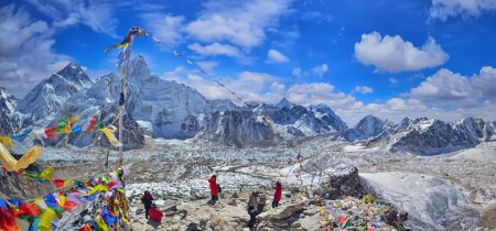 View of Mount Everest and Nuptse  with buddhist prayer flags from kala patthar