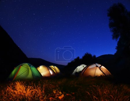Tents glow at night   in the forest
