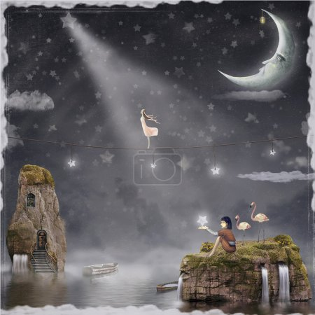 The girl walking on a rope in the night sky