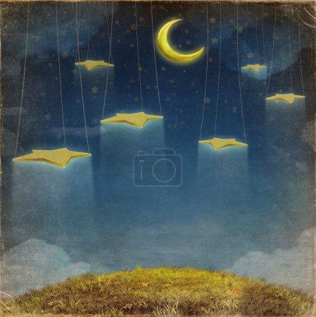 Photo pour Fantastique lune et étoiles sur la corde dans le ciel nocturne - image libre de droit