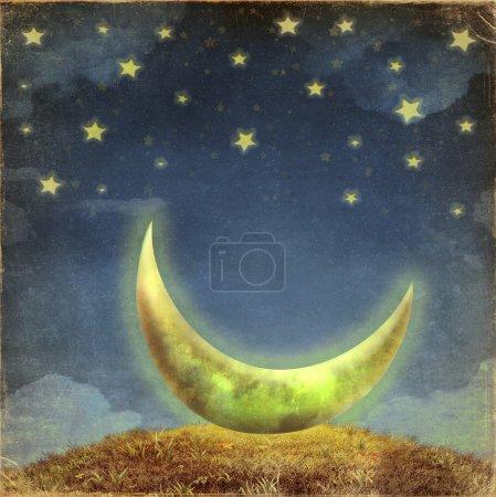 Photo pour Fantastique lune et les étoiles sur la corde au ciel nocturne - image libre de droit