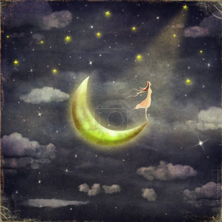 Photo for The illustration shows the girl who admires the star sky - Royalty Free Image