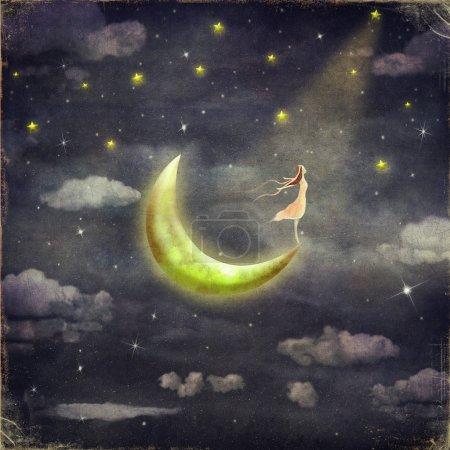 Photo pour L'illustration montre la jeune fille qui admire le ciel stellaire - image libre de droit