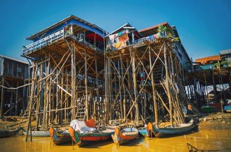 Homes on stilts on the floating village of Kampong Phluk