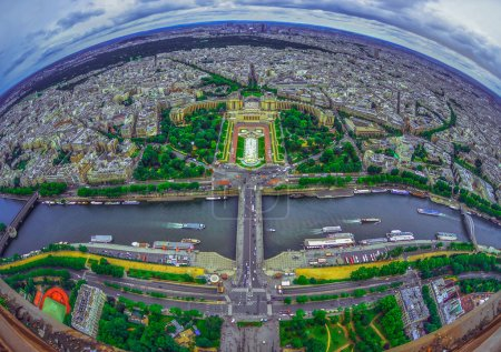 Photo for Bird's eye view of the city of Paris ,France ,  photographed from the eiffel tower - Royalty Free Image