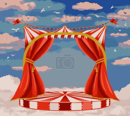 Vector illustration of  theater stage in blue sky