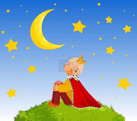 The Little Prince  on a planet  in beautiful night sky ,illustration art