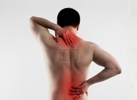 Backache on male body