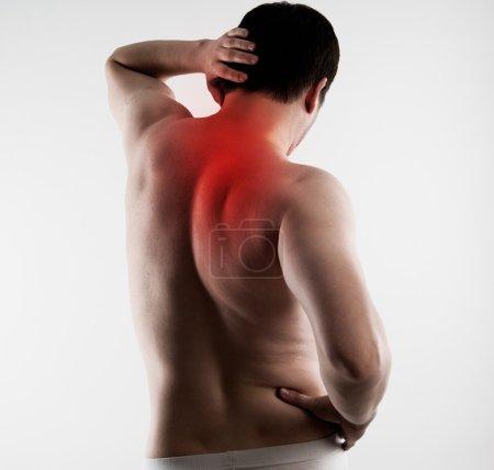 Backbone pain on male body