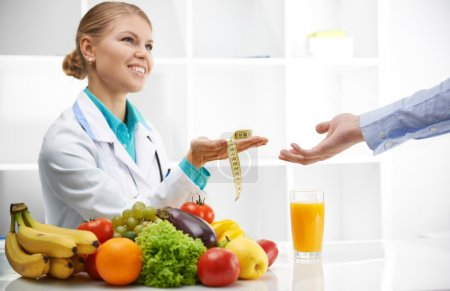 Dietitian and patient in office