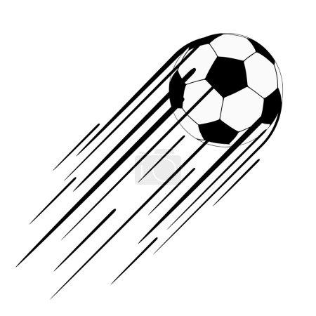 Illustration pour Ballon de football avec une longue traînée de vitesse derrière, illustration vectorielle - image libre de droit