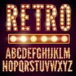 Realistic vector lamps alphabet, font set, retro s...