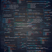Abstract programming code screen Different parts of algorithms of software developer Vector background