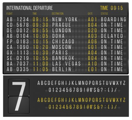 Illustration for Airport or railroad realistic  scoreboard with flip symbols. Vector template - Royalty Free Image