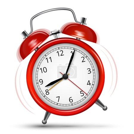 Illustration pour Anneau sauté alarme rouge classique sur fond blanc. Illustration vectorielle - image libre de droit