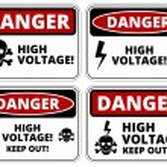 Set of danger High voltage signs, four designs, a4...