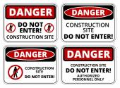 Set of danger Construction site signs four designs a4 proportions vector illustration