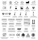 Vector Set of International Medical Package Symbols with Title Illustration EPS8
