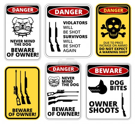 Illustration for Owner shoots - humorous comic danger sign. Vector EPS8 - Royalty Free Image