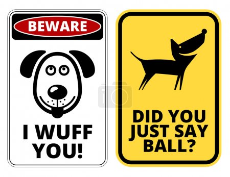 Illustration for Friendly Dogs  Signs Humorous Comic Labels and Plates Collection. Vector Illustration - Royalty Free Image