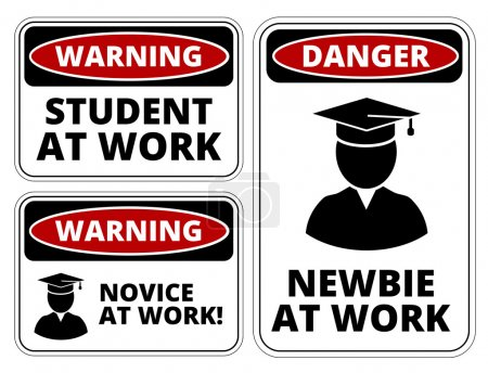 Illustration for Newbie at work joke humorous Sign. Vector EPS 8 Set - Royalty Free Image