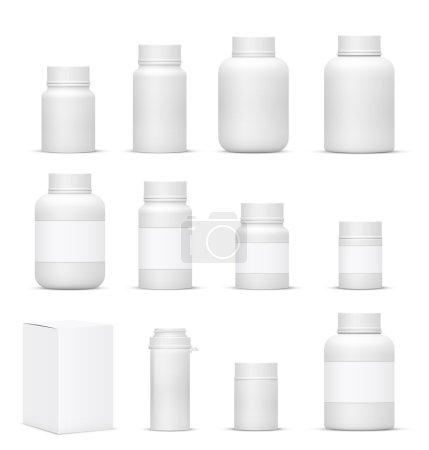 Illustration pour Vector Blank Big Set de bouteilles d'emballage en plastique avec capuchon pour cosmétiques, vitamines, pilules ou capsules - image libre de droit