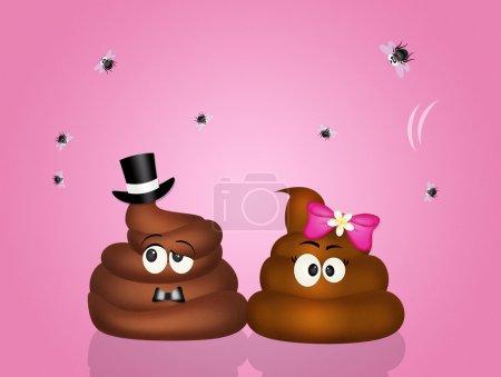 Photo pour Illustration de couple de caca amoureux - image libre de droit