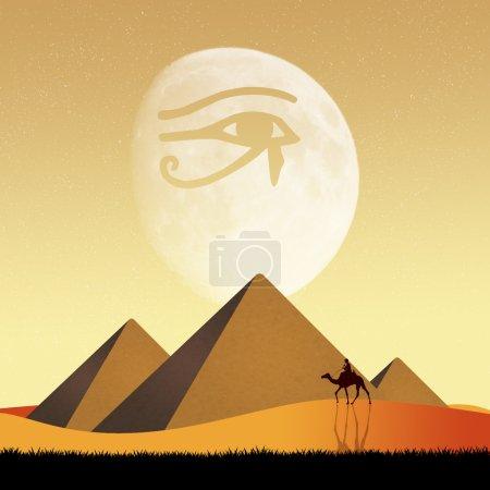 Photo pour Illustration des pyramides et Horus eye - image libre de droit
