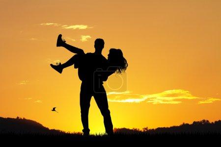 Photo pour Illustration de silhouette de couple au coucher du soleil - image libre de droit