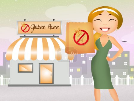 Photo pour Illustration de la boutique sans gluten - image libre de droit
