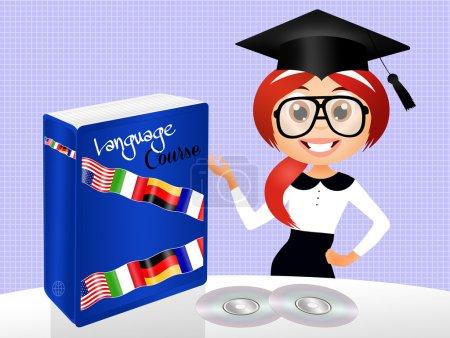 Photo pour Illustration de cours de langue - image libre de droit