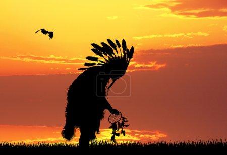 Indian at sunset