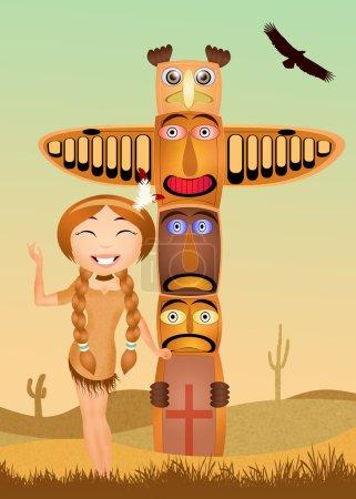 Photo pour Illustration de fille indienne et totem traditionnel - image libre de droit