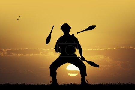 Illustration of juggler at sunset...