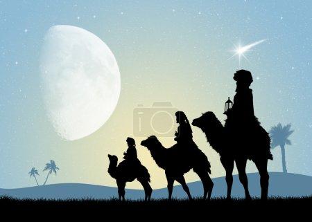 Photo pour Trois rois mages à dos de chameau - image libre de droit