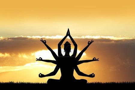 Photo pour Illustration de la déesse Kali au coucher du soleil - image libre de droit