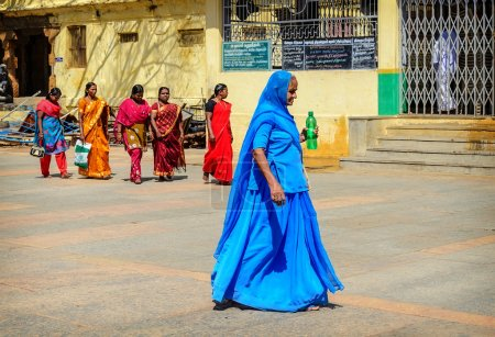 Group of Indian woman in beautiful sari going