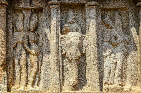 Stone sculpture at Five rathas complex